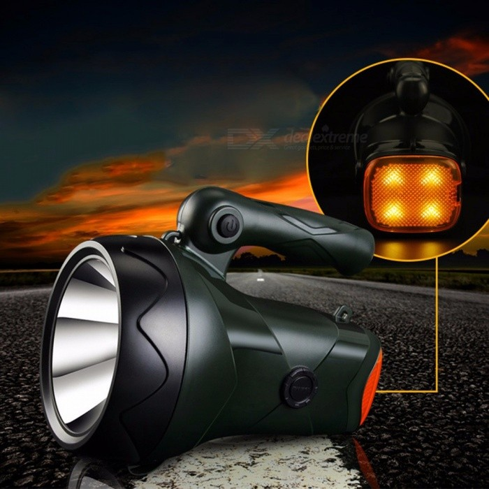 YG-5708 10W Outdoor Handheld LED Light Handlamp Ultrabright Camping Light Rechargeable Flashlight SOS Light Cold White/Green