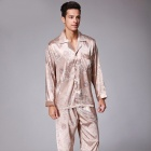 Men\'s Stylish Pajama Set Pajamas Sleepwear Long Sleeves Shirt + Pants Set Loungewear Pyjamas Homewear RedXXL