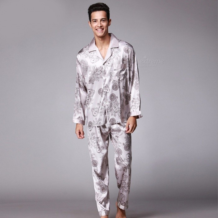 Men\'s Stylish Pajama Set Pajamas Sleepwear Long Sleeves Shirt + Pants Set Loungewear Pyjamas Homewear BeigeL