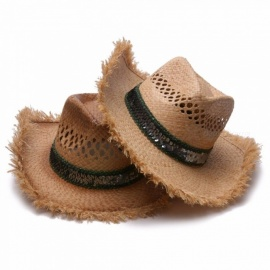Fashion-Unisex-Cowboy-Straw-Hat-Burr-Wide-Brim-Sun-Visor-Folding-Hollow-Out-Woven-Beach-Hat-For-Holiday-Travel-Brown