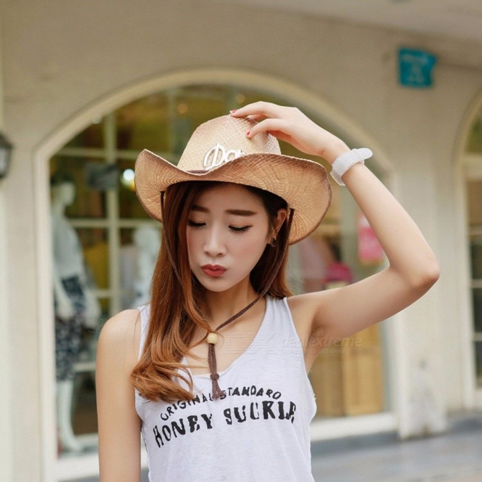 Stylish-Summer-Casual-Cowboy-Hat-For-Women-Straw-Cap-Wide-Brim-Sun-Hat-For-Beach-Vacation-Travel-Brown