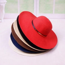 34b60d940e9 Casual Summer Ladies Sun Hat Straw Hats For Women Sunscreen Seaside Holiday  Wide Brim Beach Cap
