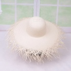Women-Summer-Sun-Hat-Non-Woven-Fringe-Wide-Brim-Hat-Ladies-Straw-Hat-Beach-Hats-For-Holiday-Travel-White