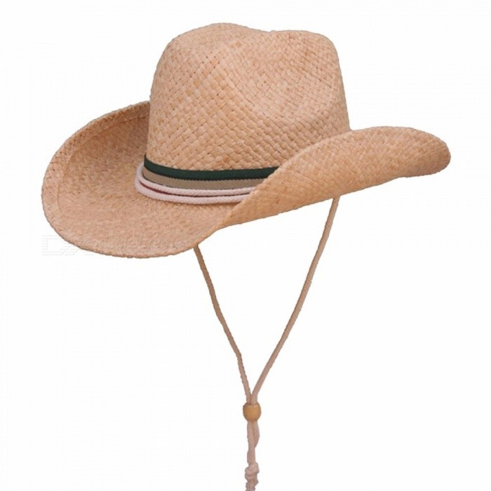 Stylish-Summer-Casual-Unisex-Cowboy-Hat-For-Men-Women-Raffia-Straw-Hat-Wide-Brim-Sun-Hat-For-Beach-Vacation-Travel-Khaki