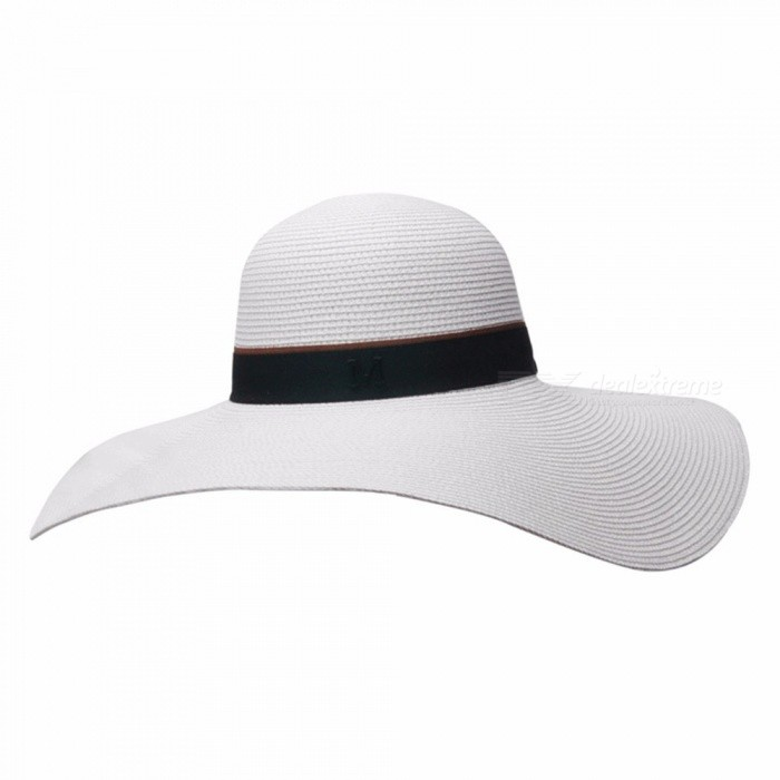 Stylish-Summer-Fashion-Floppy-Hat-For-Women-Straw-Wide-Brim-Sun-Hat-For-Beach-Vacation-Travel-White