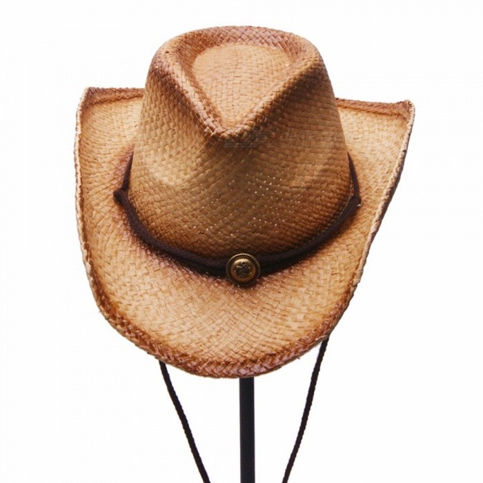 Stylish-Summer-Casual-Unisex-Cowboy-Hat-For-Women-Men-Raffia-Straw-Sun-Hat-For-Beach-Vacation-Travel-Brown