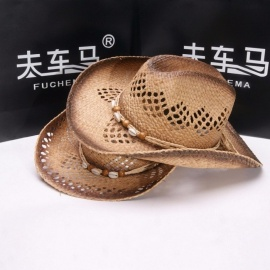 Stylish-Summer-Unisex-Hollow-Out-Beads-Cowboy-Hat-For-Women-Men-Straw-Curly-Brim-Sun-Hat-For-Beach-Vacation-Travel-Brown