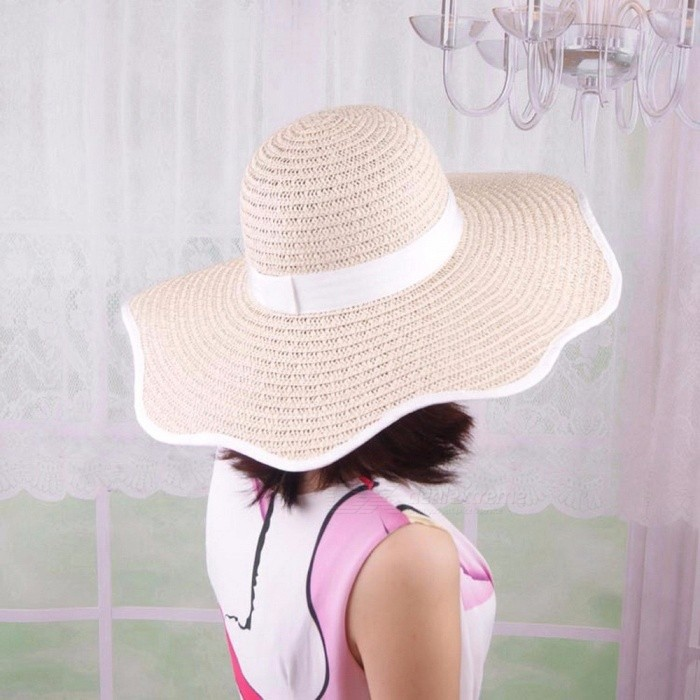 Stylish Summer Casual Hat For Women Straw Cap Petal Shaped Wide Brim Sun Hat For Beach Vacation Travel Black