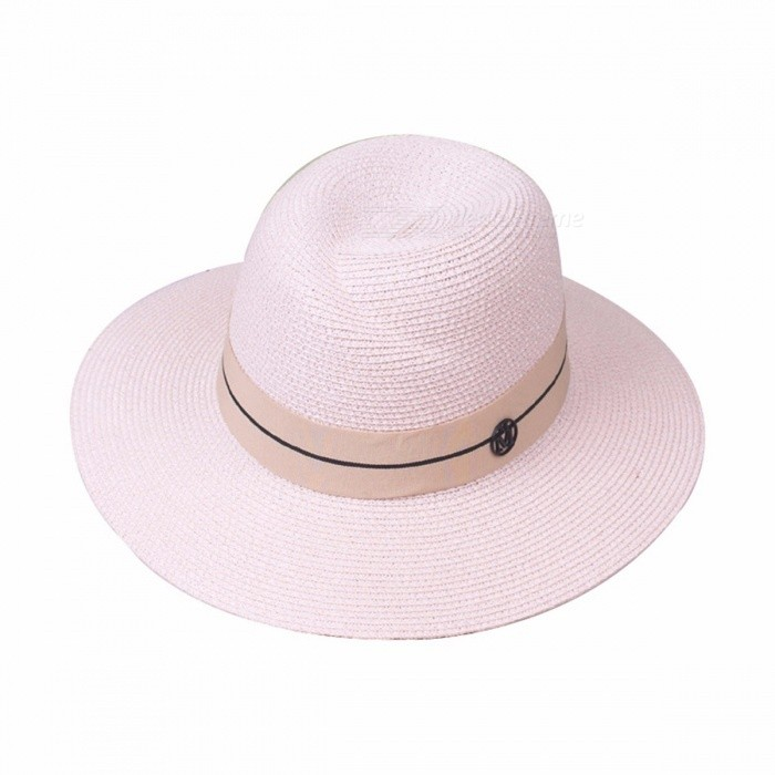 Stylish-Summer-Casual-Folding-Hat-For-Women-Straw-Cap-Wide-Brim-Sun-Hat-For-Beach-Vacation-Travel-Beige-Pink
