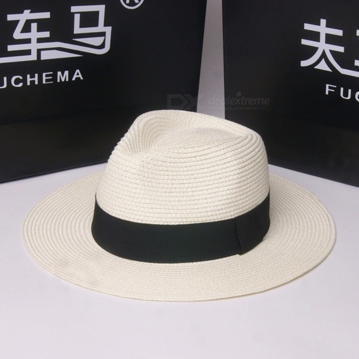 Stylish Summer Casual Sunproof Hat For Women Straw Cap Wide Brim Panama Sun Hat For Beach Vacation Travel