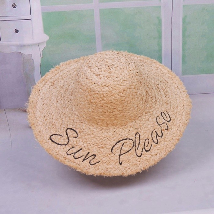 Stylish Summer Casual Embroidery Letters Floppy Hat For Women Straw Wide Brim Sun Hat For Beach Vacation Travel Moss Green