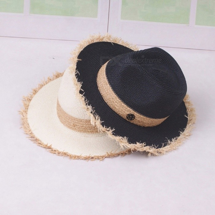 Elegant Summer Casual Floppy Hat For Women Contrast Color Raffia Straw Wide Brim Sun Hat For Beach Vacation Travel White