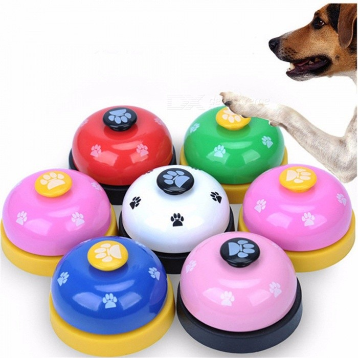 Pet Toy Training Called Dinner Small Bell Paw Print Ring Dog Toys For Teddy Puppy