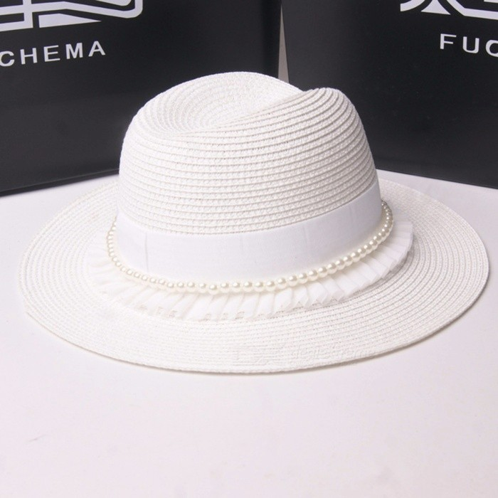 Stylish Summer Casual Pearls Lace Hat For Women Straw Wide Brim Sun Hat For Beach Vacation Travel White