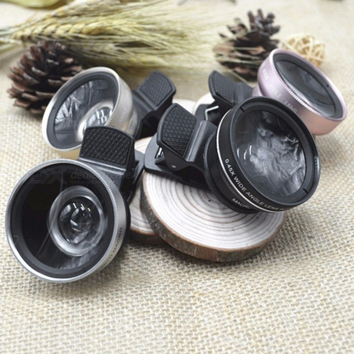 0.45X 49mm UV Wide Angle Macro Lens With Clip For Mobile Phone, External Optical Glass Lens Black