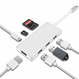 Cwxuan-USB-Type-C-HUB-HDMI-4K-Adapter-for-Macbook-ProThunderbolt-3-3-USB-30-Ports-SDTF-Card-Reader-w-USB-C-Power-Delivery
