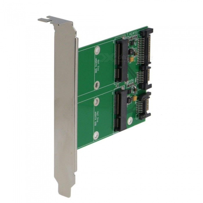 mSATA SSD Dual Port To SATA II Adapter Card With PCI-e Support - Green