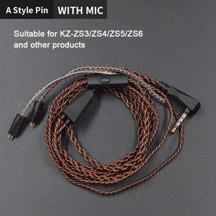 KZ Original Dedicated Cable 0 75mm 2 Pin High-Purity Oxygen-Free Copper  Twisted Replace Cable - A Style Pin (With Microphone)