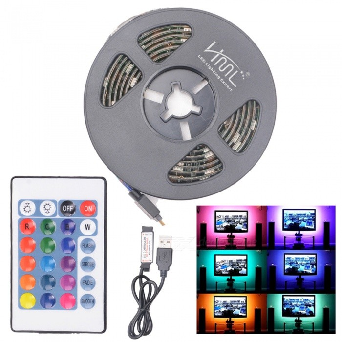 HML 5V 1M USB Bias 5050 x 30 RGB Light Waterproof LED Strip Light