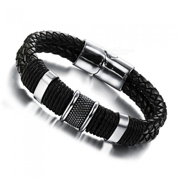 XSUNI Titanium Steel Leather Woven Inverted Magnetic Buckle Leather Bracelet