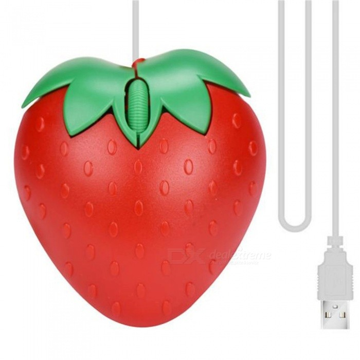 New Fashion Cute Red Strawberry Optical USB LED Game Wired Mouse Mice for PC Laptop Computer