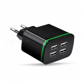 Cwxuan Universal 4-Port USB Charger Adapter, 5V 4A LED Glowing Multi-Port HUB Travel Charger for IPHONE IPAD Etc - Black
