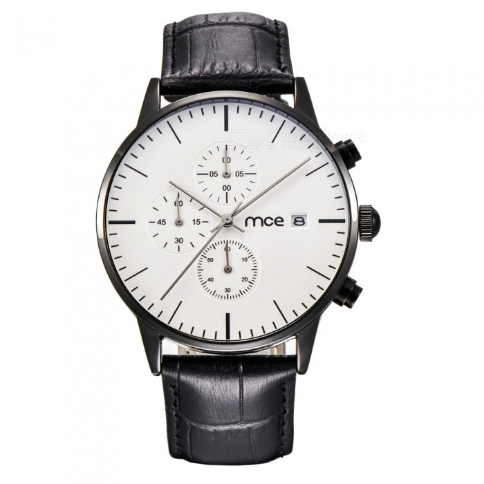 MCE 07-210 High-Grade Multifunctional Waterproof Leather Band Quartz Watch for Men