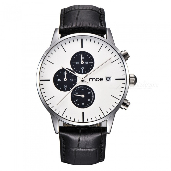 MCE 07-210 High-Grade Multifunctional Waterproof Leather Band Quartz Watch for Men - Silver + White + Black