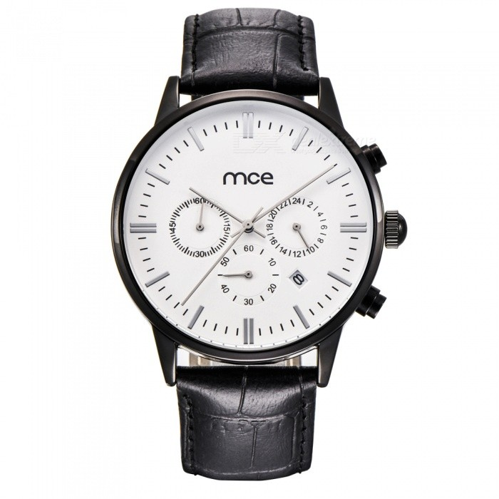 MCE 07-205 High-Grade Multifunctional Waterproof Leather Band Quartz Watch for Men - White + Black