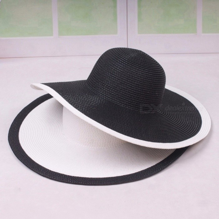 Wide Brim Straw Hat For Women Flat Top Summer Sun Hats Wheat Ladies Straw Hats Brown Girl Beach Chapeau White