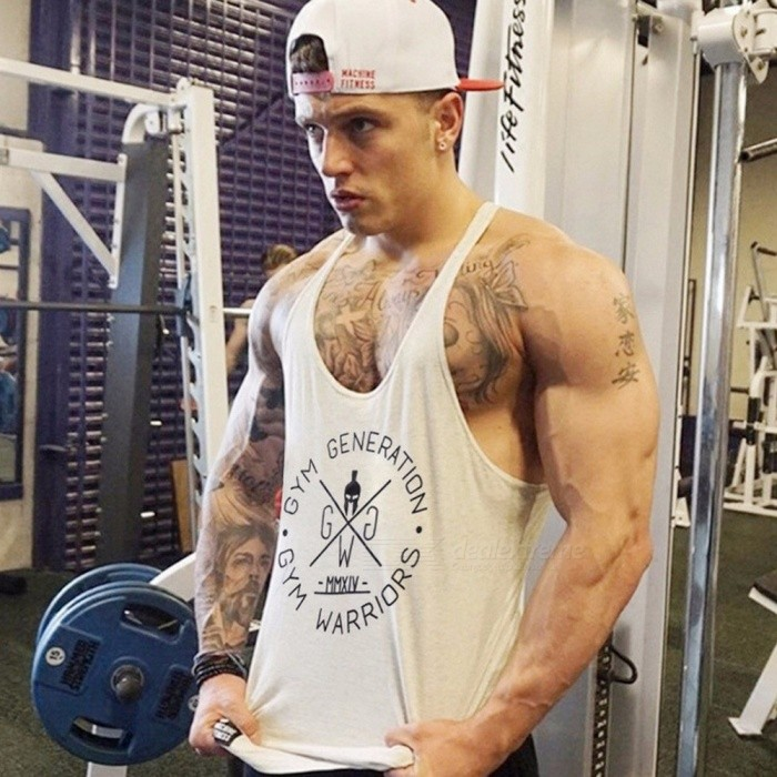Men T-shirt Vest Bodybuilding Tank Top Men Fitness Sleeveless Shirts Muscle Tops Boy Vest Black/M