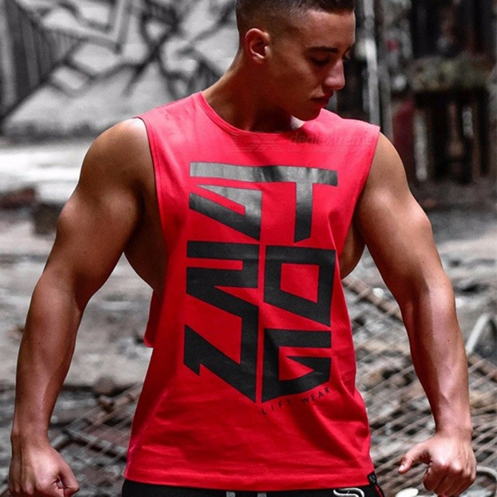 New Summer Fitness Vest Muscle Men And Sleeveless Vest Printed Letter Men's Fitness Tank Tops