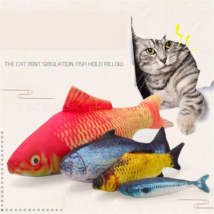 2018 Funny Lifelike Fish Shape Pet Cat Kitten Cute Simulation Fish Playing Toy Catnip Toys Pillow 20CM
