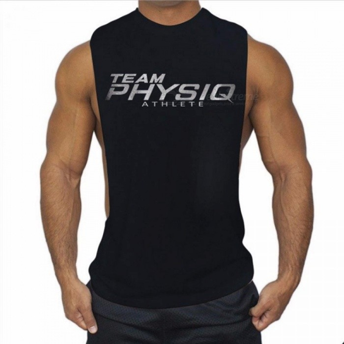 Men's Silver Lettering Vest Summer Men's Casual Tank Tops Fashion Fitness Vest Gyms Jogger Vest - Black