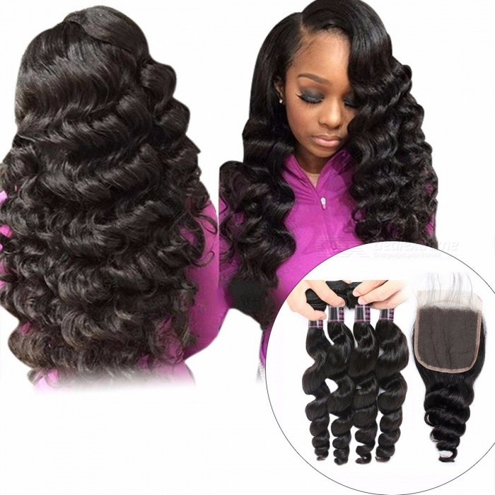 Peruvian Loose Wave Human Hair 4 Bundles With Closure, 4*4 Inch Closure With Baby Hair, Non Remy Hair Extensions 24 24 26 26 closure20/Three Part