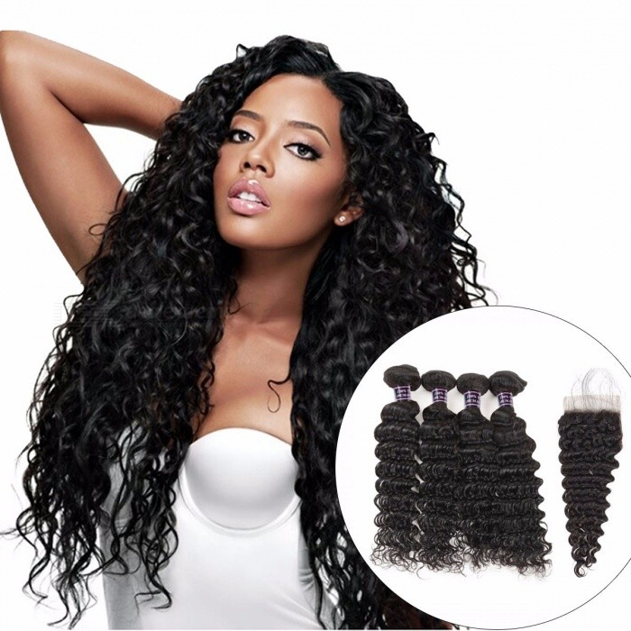 Malaysian Deep Wave Human Hair Bundles With Closure, Baby Hair Non Remy Hair Extensions, 4 Bundles With Closure 22 24 26 28 closure18Middle Part