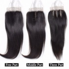 Brazilian Straight Human Hair 4 Bundles With Lace Closure, Free / Middle / Three Part Hair Weave Bundles With Closure 24 24 24 24 closure16/Middle Part