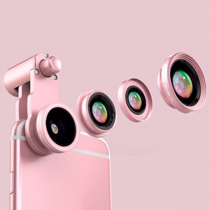 3-in-1 Universal Mobile Phone 0.65X Wide Angle + Fisheye + 10X Macro Lens With Clip Set For Samsung, Blackberry, IPHONE Pink