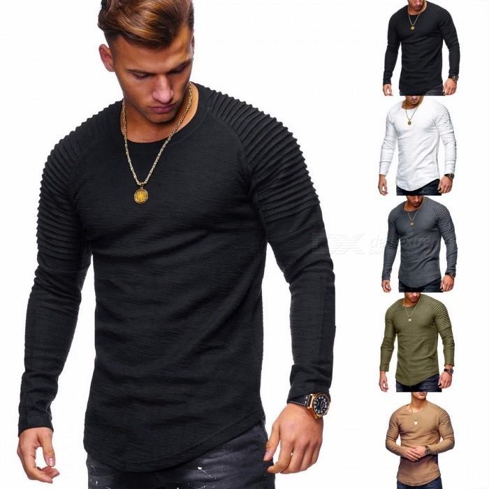 Fashion Men\'s Round Neck Slim Solid Color Long-sleeved T-shirt, Folding Hip-Hop Casual T-Shirt Tops For Men Black/S