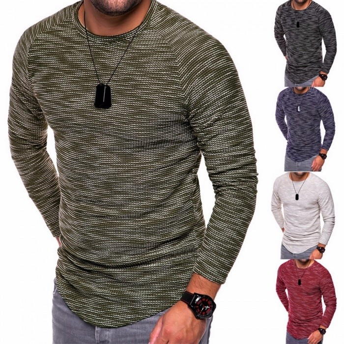 Winter Autumn Round Neck Slim Men's T-Shirt, Casual Long-Sleeve T-Shirt Tee For Men BlackS