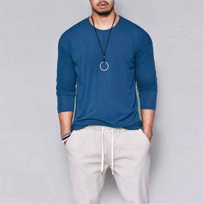 C15 Autumn Round Neck Thin Solid Color Men\'s T-Shirt, Casual Long-Sleeve T-Shirt Tee For Men Black/S