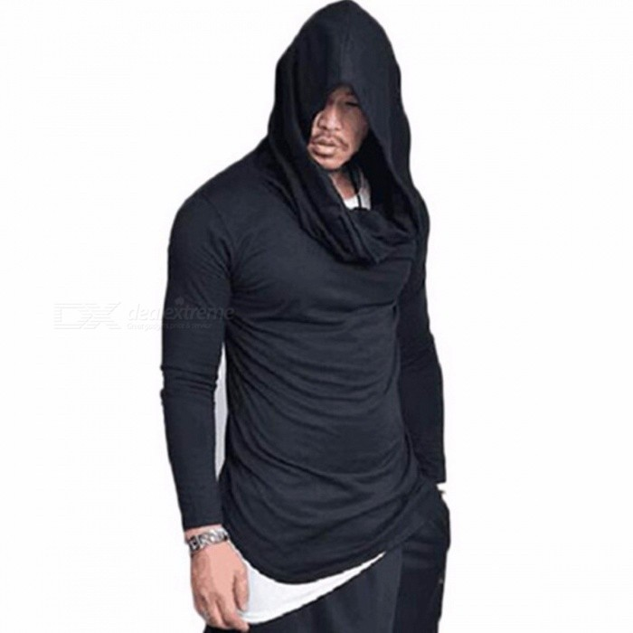 T15 Fashion Stacked Collar Pullover Men's Jacket Hoodies, Casual Loose Hooded Thin Sweater Coat