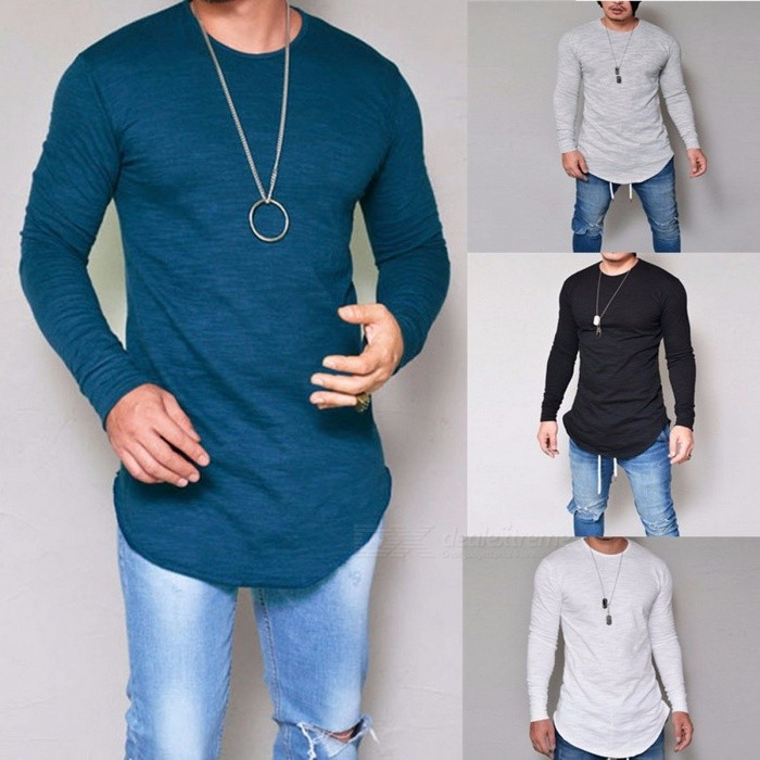 Autumn Round Neck Slim Solid Color Men's T-Shirt, Casual Long-Sleeve T-Shirt Tee For Men