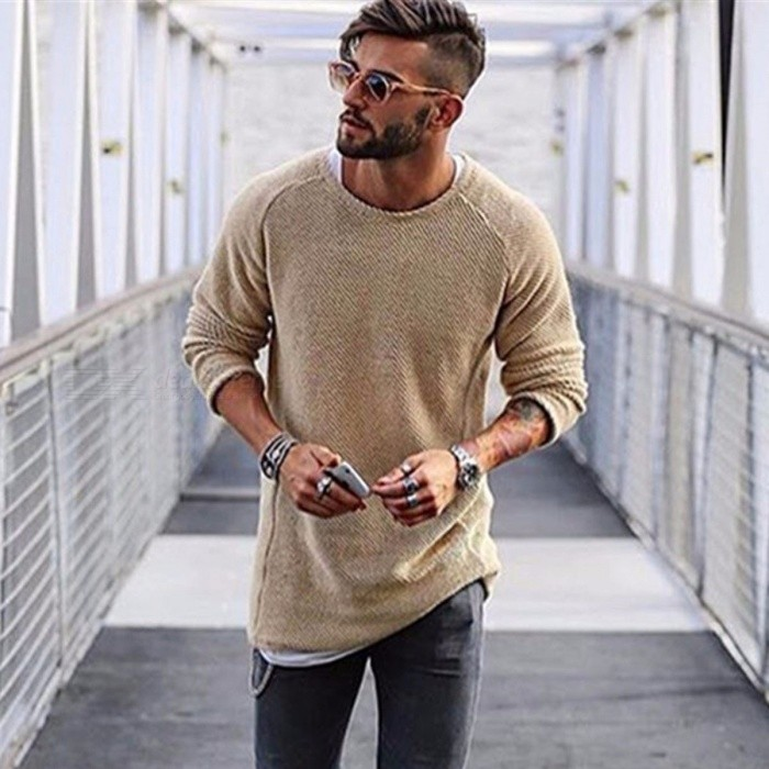 Fashion Pullover Round Neck Solid Color Slim Knitted Sweater, Men's Long-Sleeved Thin Sweater