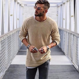 Fashion-Pullover-Round-Neck-Solid-Color-Slim-Knitted-Sweater-Mens-Long-Sleeved-Thin-Sweater