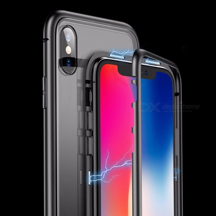 Anti-Scratch Dust-proof Tempered Glass Metal Magnetic Clear Transparent Phone Case For Iphone X