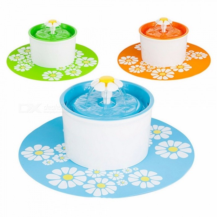 Automatic-Green-Flower-Style-Cat-Dog-Electric-Fountain-Pet-Bowl-Drinking-Water-Dispenser-Drink-Dish-Filter-Us-Plug