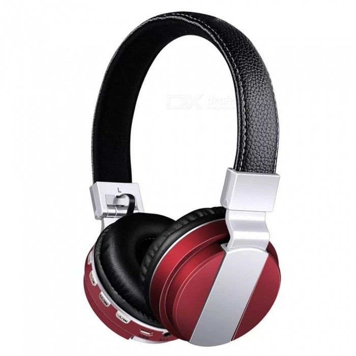 Bluetooth Earphone Headphone, Support 32GB TF Card, FM Radio Bass 3.5mm Wireless Headset With Mic Red