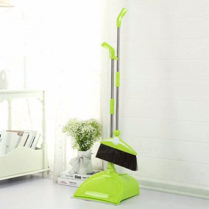 Foldable Household Cleaning Tool, Stainless Steel PP Plastic Broom Combination, Soft Hair Dustless Broom Dustpan Suit Orange