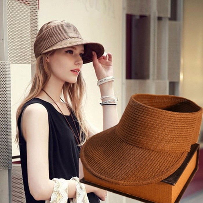 Summer-Empty-Top-Straw-Hat-Korean-Casual-Shade-Sunscreen-Beach-Sun-Hats-Black